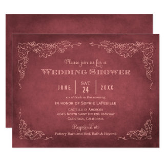 Vintager Weinberg der Polterabend-Einladungs-| 10,8 X 14 Cm Einladungskarte