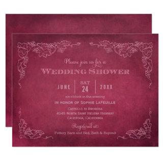 Vintager Weinberg der Polterabend-Einladungs-| Karte