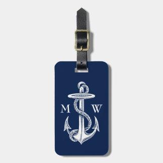 Vintager weißer Anker-Seil-Marine-Blau-Hintergrund Kofferanhänger