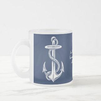 Vintager weißer Anker-Seil-Marine-Blau-Hintergrund Mattglastasse