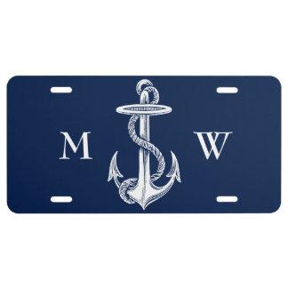Vintager weißer Anker-Seil-Marine-Blau-Hintergrund US Nummernschild