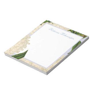 Vintager weißer Hydrangea-personalisierter Notizblock