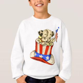 Vintager Welpe mit Flaggen-Sweatshirt Sweatshirt