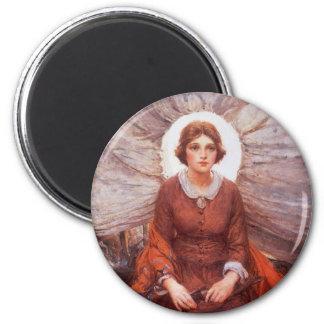 Vintager Western, Madonna des Graslandes durch Runder Magnet 5,7 Cm