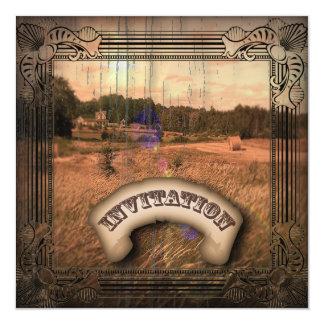 Vintager Western-rustikale Quadratische 13,3 Cm Einladungskarte