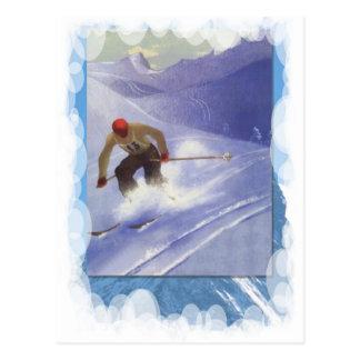 Vintager Winter-Sport - abschüssiges Rennen Postkarte