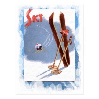 Vintager Winter-Sport - Skiausrüstung Postkarte