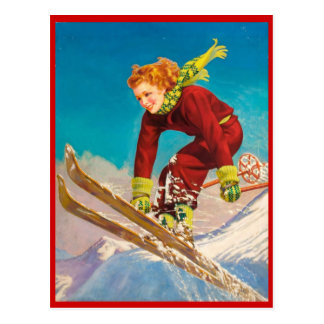 Vintager Wintersport, Ski abwärts Postkarte