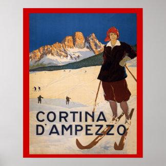 Vintager Wintersport, Ski Italien, Cortina Poster