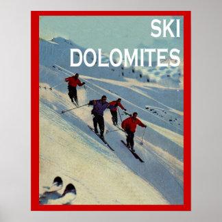 Vintager Wintersport Ski Italien, Dolomit Poster