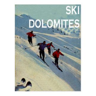 Vintager Wintersport, Ski Italien, Dolomit Postkarte