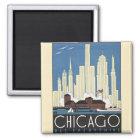 Vintager WolkenkratzerSkyline Reise-Chicagos Quadratischer Magnet