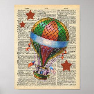 Vintager Wörterbuch-Kunst-Heißluft-Ballon-Zirkus Poster