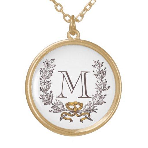 Vintager Wreath-personalisiertes Monogramm-Initial Amulett