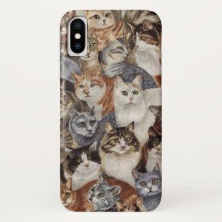 Vintager wunderlicher Katzen-Muster-Apple iPhone X iPhone X Hülle