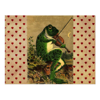 Vintager wunderlicher romantischer Frosch mit Viol Postkarte