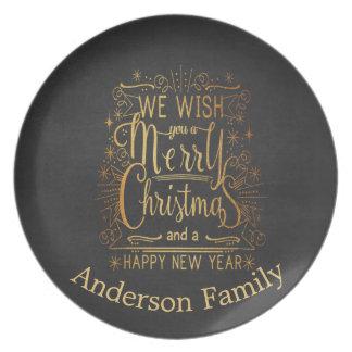 Vintager Wunsch Sie ein frohe Weihnacht-Teller Teller