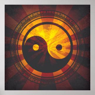 Vintager Yin Yang Symbol-Druck Poster