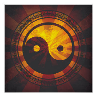 Vintager Yin Yang Symbol-Druck Posterdrucke