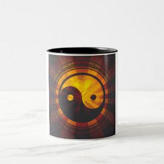 Vintager Yin Yang Symbol-Druck Zweifarbige Tasse