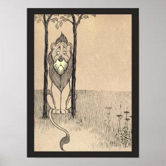 Vintager Zauberer von Oz, Cowardly Löwe Poster