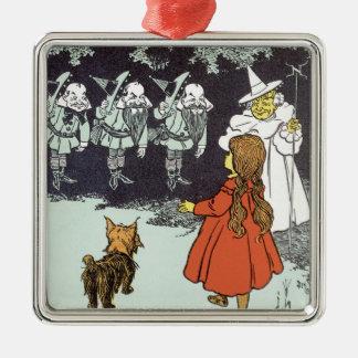 Vintager Zauberer von Oz Dorothy Toto Glinda Quadratisches Silberfarbenes Ornament