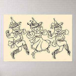 Vintager Zauberer von Oz, niedliches tanzendes Poster