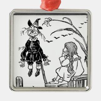 Vintager Zauberer von Oz, Treffen-Vogelscheuche Quadratisches Silberfarbenes Ornament