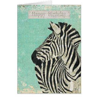 Vintager Zebra-blaue Geburtstags-Karte Karte