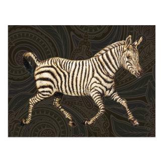 Vintager Zebra, der mit Paisley-Entwurf läuft Postkarte