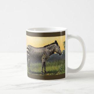 Vintager Zebra in der afrikanischen Savanne, Kaffeetasse