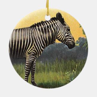 Vintager Zebra in der afrikanischen Savanne, Keramik Ornament