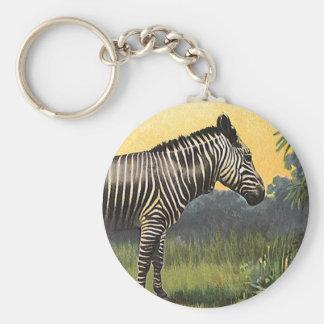 Vintager Zebra in der afrikanischen Savanne, Schlüsselanhänger