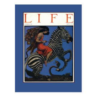 Vintager Zebra mit Kunst Nouveau Frauen-Reiter Postkarten
