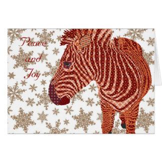 Vintager Zebra-Weihnachtsgruß Karte