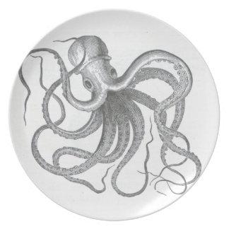 Vintager zeichnender Teller Seesteampunk Krake