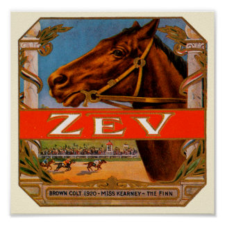 Vintager Zigarren-Aufkleber, Zev Poster
