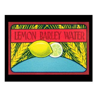Vintager Zitronen-Gersten-Wasser-Aufkleber Postkarte