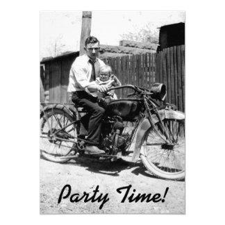 Vintager Zwanzigerjahre Motorrad-Geburtstag 12,7 X 17,8 Cm Einladungskarte