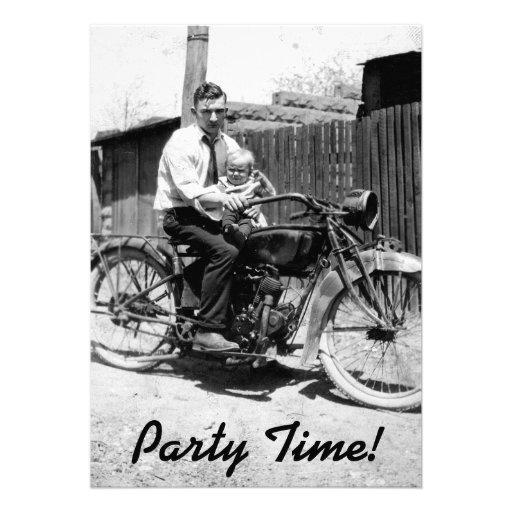 Vintager Zwanzigerjahre Motorrad-Geburtstag Ankündigungskarten