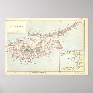 Vintager Zypern-Karte 1890's Druck Poster