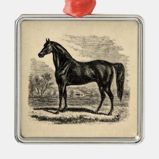 Vintages 1800s Pferd - Morgan-Reiter-Schablone Silbernes Ornament