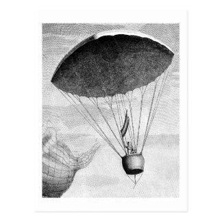 Vintages 18. Jahrhundert des Heißluft-Ballons Postkarte