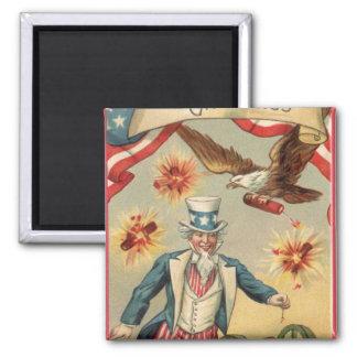 Vintages 4. von Juli-Feuerwerken mit Uncle Sam Quadratischer Magnet