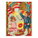 Vintages 4. von Juli-Feuerwerken Postkarte