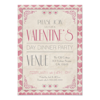 Vintages Abendessen-Party des Valentines Tages Karte