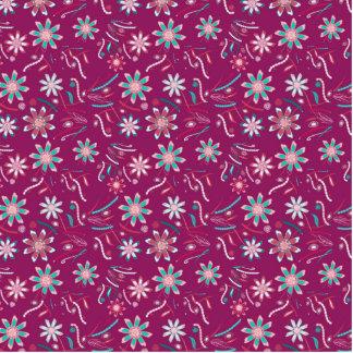 Vintages abstraktes aquamarines rosa Blumenmuster Freistehende Fotoskulptur