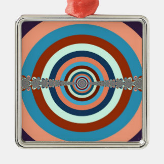 Vintages abstraktes Pfeil-Brett Quadratisches Silberfarbenes Ornament