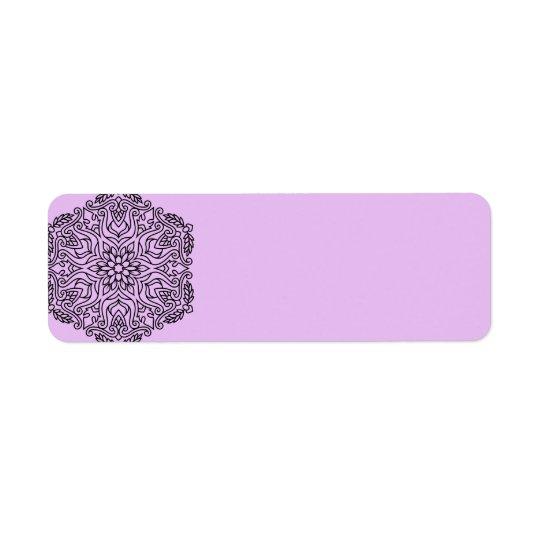 Vintages Adressen-Etikett: mit Mandalakunst Rücksendeetikett