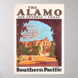 Vintages Alamo San Antonio Texas Südpazifik Poster